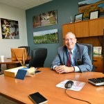 Palm Coast Mayor David Alfin in his office at City Hall. (© FlaglerLive)