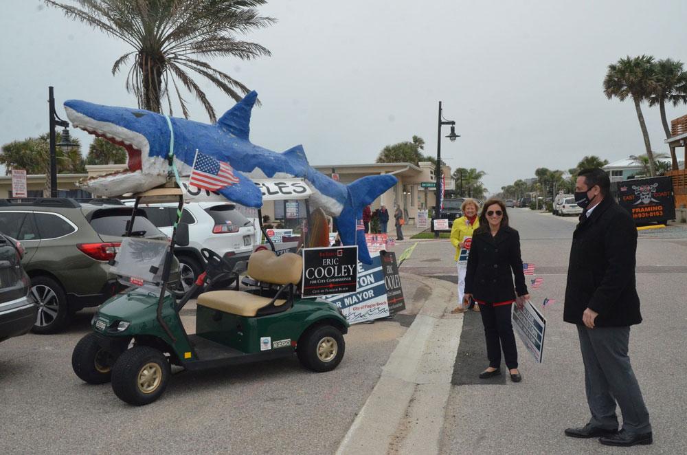 Alice the Shark was voting Cooley. (© FlaglerLive)