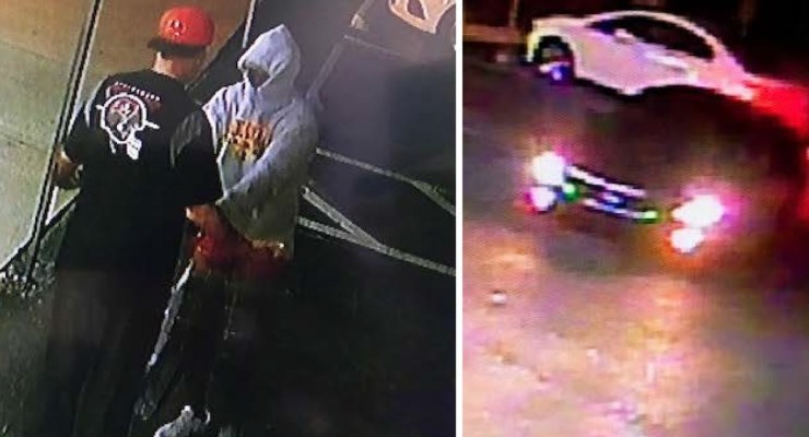 The armed robbery suspect in the hoodie, left, and the suspect's vehicle in images released by the sheriff's office.