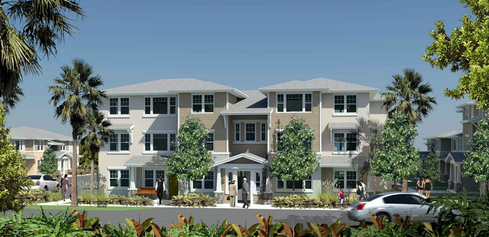 A rendering of one of the 12 buildings of the Aviara apartment complex planned for the west end of the W Section in Palm Coast. (Aviara)