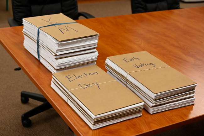 The ballots before they were hand-counted. (© FlaglerLive)