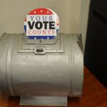 A very old ballot box preserved at the Flagler County Supervisor of Elections' Office in Bunnell. (© FlaglerLive)