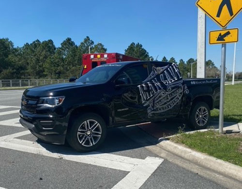 Victor Barbosa's Man Cave truck at the scene of the crash. The truck had been the focus of a city code enforcement inquiry last year. (FCSO)