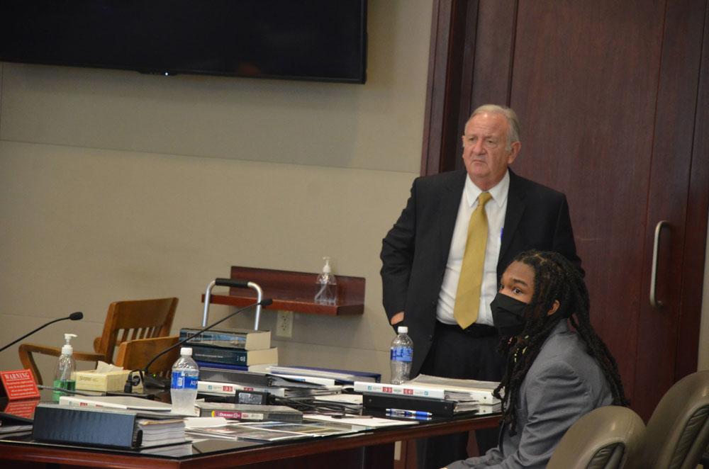Defense attorney Gerald Bettman with his client, Benjamin Allen. (© FlaglerLive)