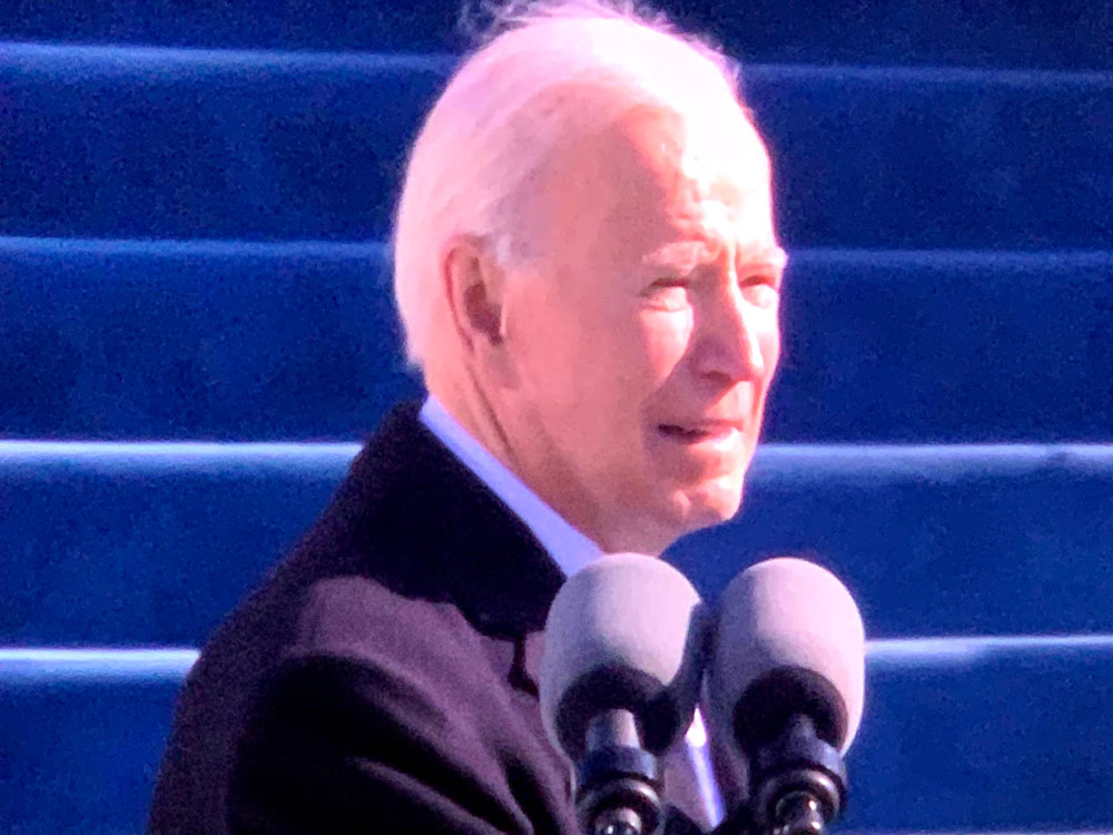 Joe Biden during his inauguration speech today. (© FlaglerLive via inauguration video)