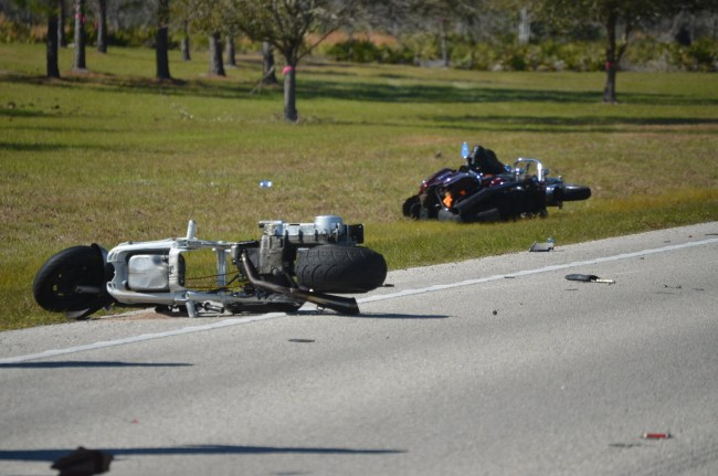 Two of the four bikes involved ion the crash. Click on the image for larger view. (© FlaglerLive)