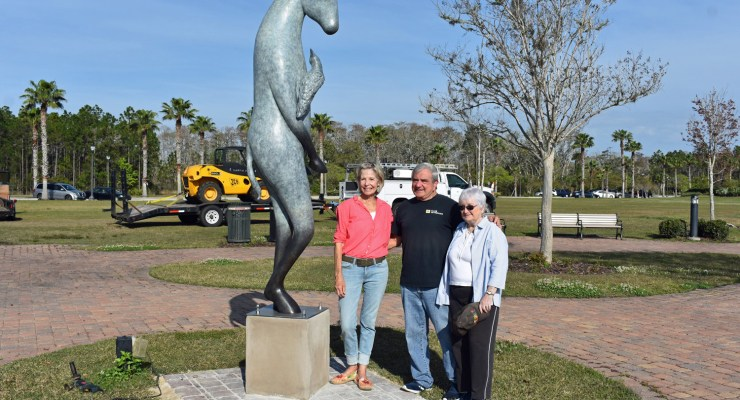 'Burro With Bird on His Shoulder,' Copper Tritscheller's nine-foot sculpture central park palm coast