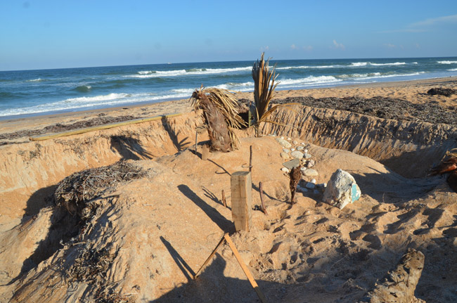 An elaborate sand castle spotted in Flagler Beach, near the Winery. (© FlaglerLive)