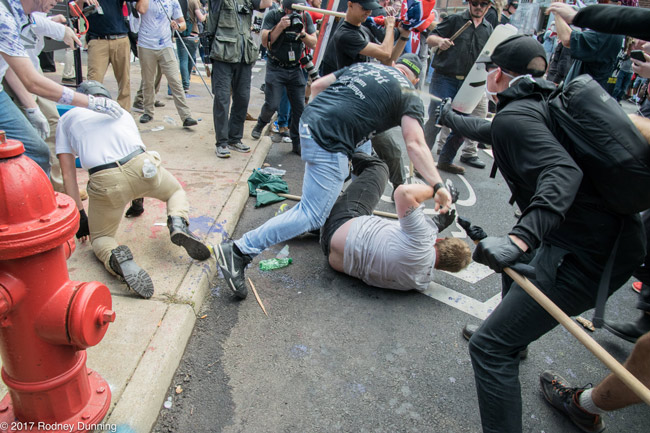 A scene from the Unite the Right rally in Charlottseville last summer. (Rodney Dunning)
