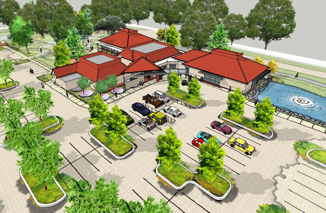 A conceptual design of the spruced up Palm Coast Community Center at Clubhouse Drive and Palm Coast Parkway.