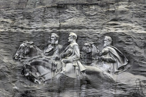 A closer look at the Confederate monument carved into Stone Mountain. Click on the image for larger view. (Chris Ballance)