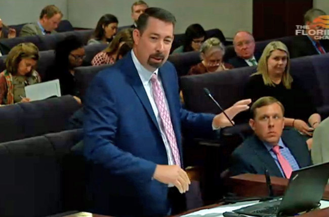 Flagler County Administrator Craig Coffey addressing the Senate Community Affairs Committee on vacation rentals today in Tallahassee. (© FlaglerLive via Florida Channel)
