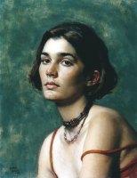 """Daniel Greene, Caroline, 1997, Oil on linen, 22"""" x 16"""", at the Museum of Art DeLand."""