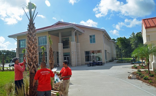 Workers were adding final touches to the new segment of Daytona State College's Palm Coast campus this week. (© FlaglerLive)