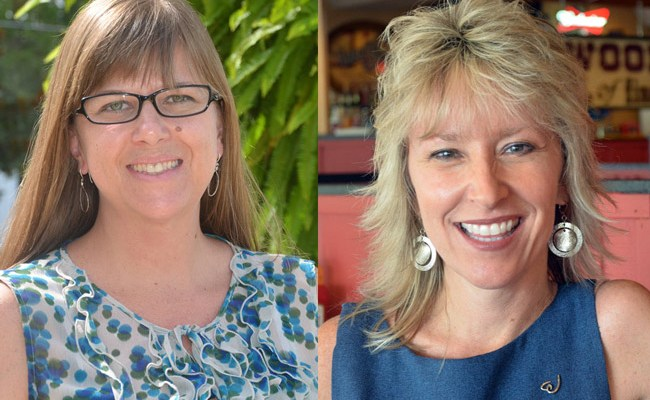 They're among Flagler County's more recognizable and influential women: Rebecca DeLorenzo, left, and Cindy Dalecki. (© FlaglerLive)