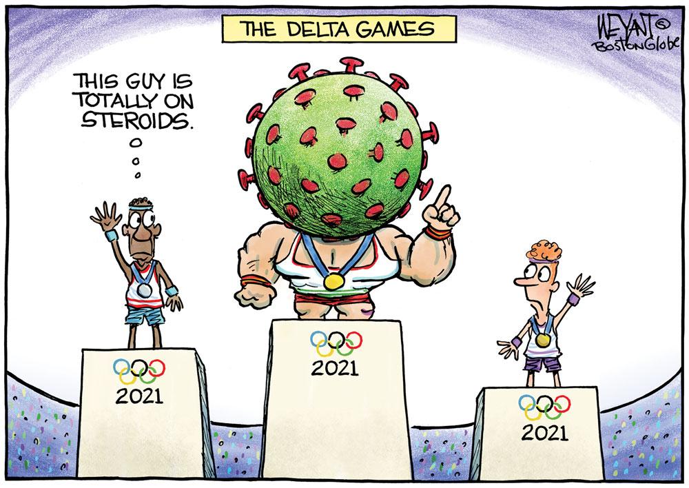Delta Olympics by Christopher Weyant, The Boston Globe.
