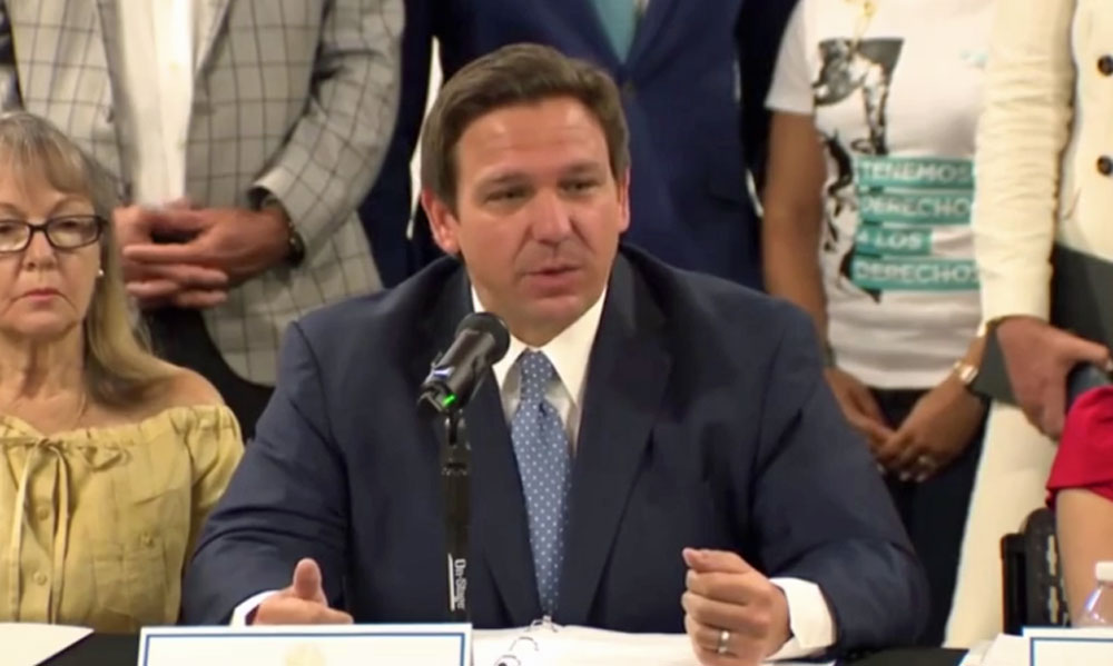 Gov. Ron DeSantis in a July 13 roundtable on Cuba, in a still from the video posted to his Rumble account. The roundtable on masks was posted Monday. It was not visible today. (© FlaglerLive via Rumble)
