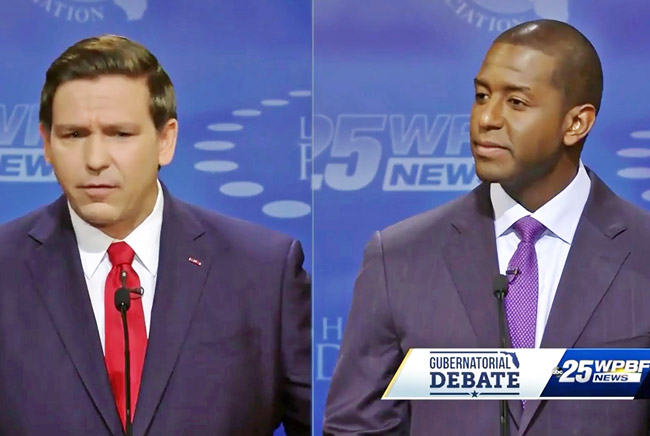 It'll be the last time they share a stage for a while: Ron DeSantis, left, and Andrew Gillum. (© FlaglerLive via WPBF)
