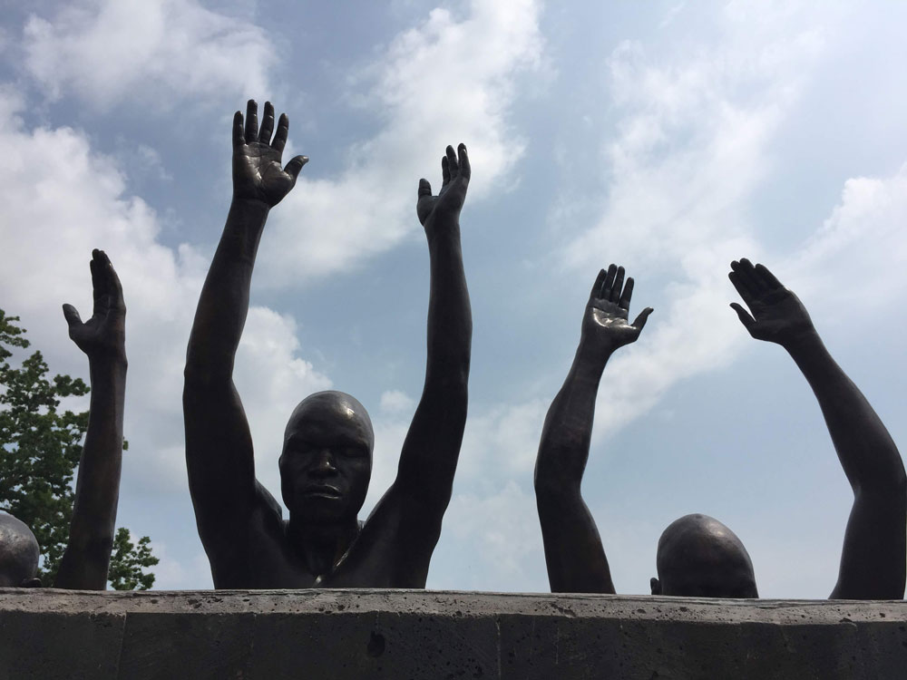 Detail from the sculpture by Hank Willis Thomas on the the grounds of the National Memorial to Peace & Justice. ((© Pierre Tristam)