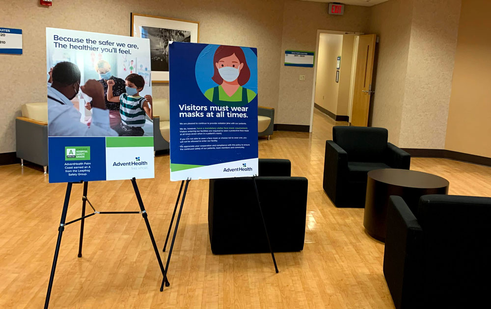 A physician's suite at AdventHealth Palm Coast on Thursday. No such signs will be posted in Flagler schools as they prepare to reopen for a full complement of students on Aug. 10. (© FlaglerLive)