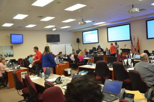 Flagler's Emergency Operations Center was already buzzing Friday. Click on the image for larger view. (© FlaglerLive)