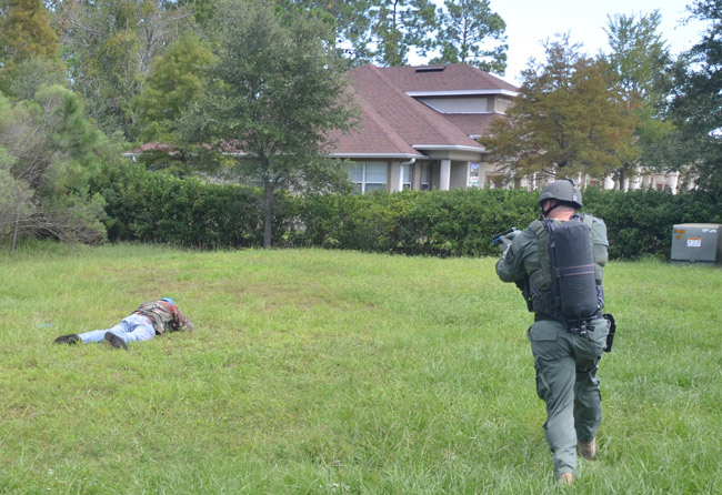 An exercise simulating a shooting during a law enforcement competition in Palm Coast several years ago. (© FlaglerLive)
