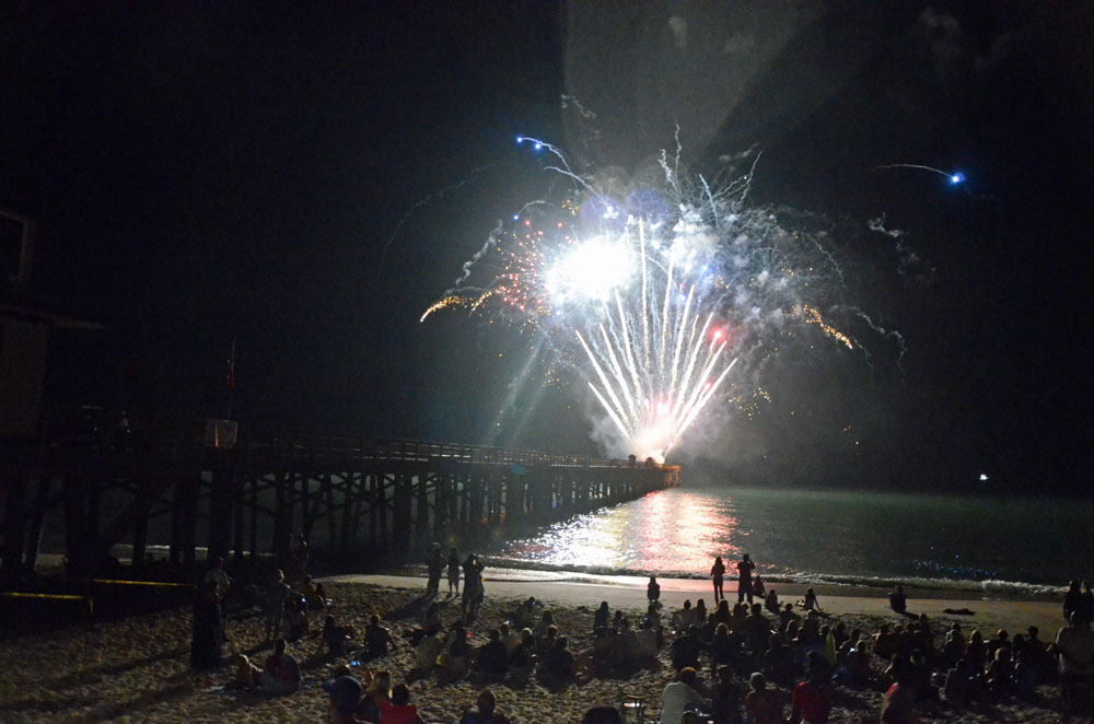 The July 4 fireworks off the Flagler Beach pier have been as iconic, on Independence Day, as the pier itself all 364 other days of the year. (© FlaglerLive)