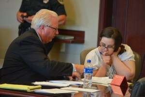 Defense attorney Garry Wood and Erin Vickers go over the list of potential jurors before the final culling. (© FlaglerLive)