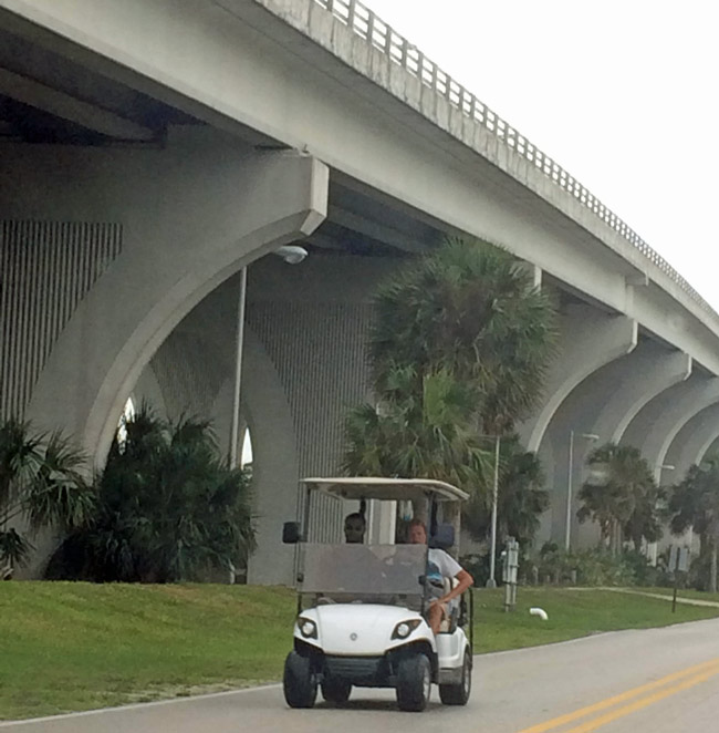 Flagler Beach has very golf-cart-friendly rules of the road. The Hammock wants similarly permissive rules. But the County Commission is divided on the issue. (© FlaglerLive)