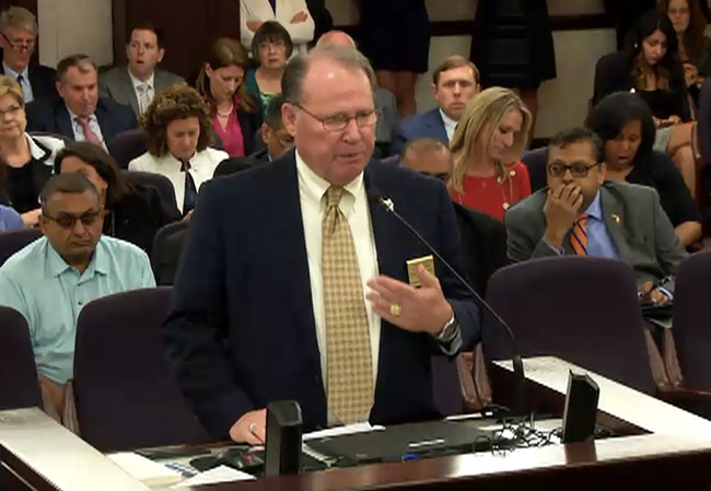 Flagler County Commission Chairman Greg Hansen made the county's case before the  Senate Regulated Industries Committee this afternoon. It did not work.