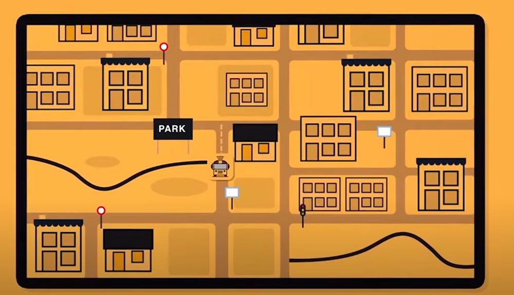 """What your smart phone's """"Here Comes th Bus"""" map may look like, based on a still from a company video."""