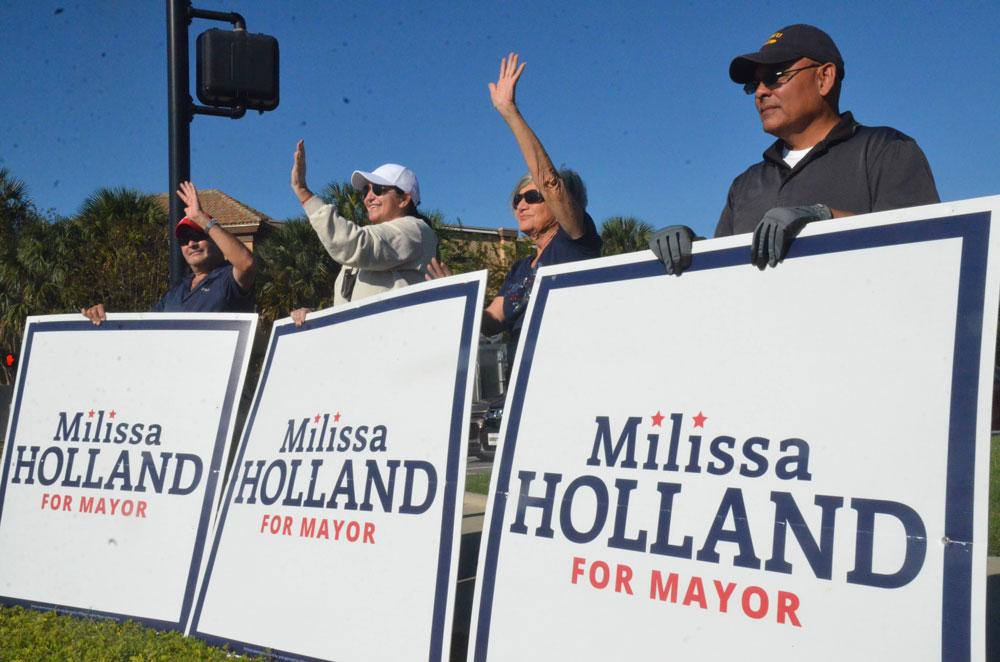 Palm Coast Mayor Milissa Holland held on. (© FlaglerLive)