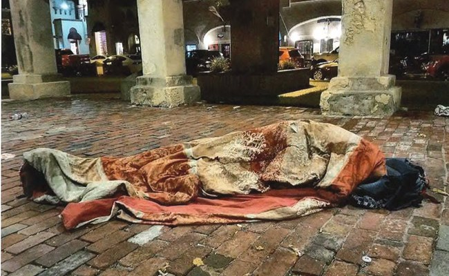 A homeless person in St. Augustine in an image, one of dozens, used to convince the St. Augustine City Council on Monday to pass a draconian anti-panhandling ordinance. The measure inspired Palm Coast City Council member Heidi Shipley to do likewise in the city, though the city manager rebuffed her.
