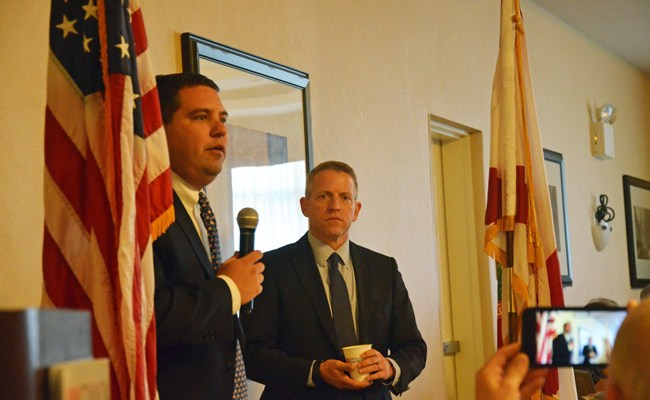 Sen. Travis Hutson, left, and Rep. Paul Renner at this morning's Common Ground breakfast organized by the Flagler County Chamber of Commerce. (© FlaglerLive)