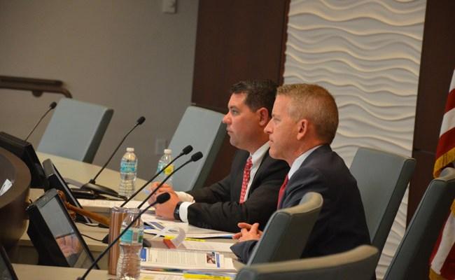 Sen. Travis Hutson, left, and Rep. Paul Renner, both Republicans, at last year's legislative delegation meeting in Flagler, held at Palm Coast City Hall. (© FlaglerLive)