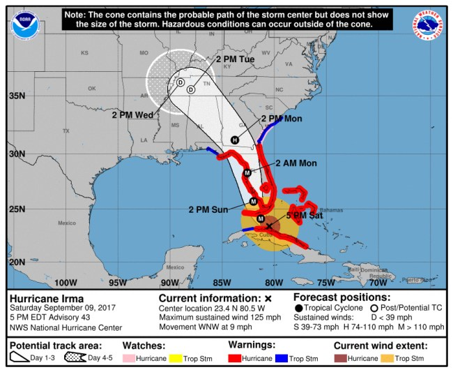 Hurricane Irma's track as of 5 p.m. Saturday. Click on the image for larger view.