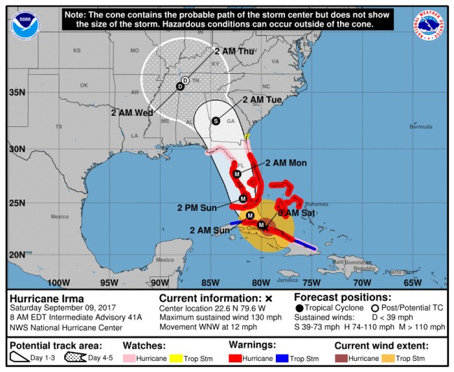 Hurricane Irma's track at 8 a.m. Saturday. Click on the image for larger view.