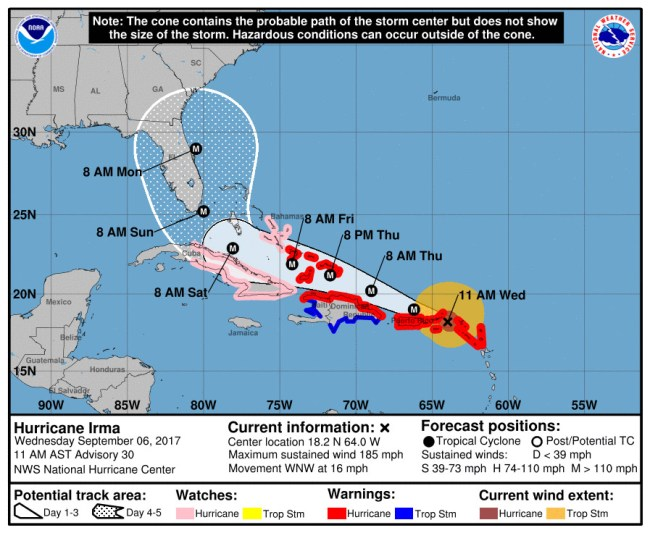 Hurricane Irma's track as forecast at 11 a.m. Wednesday, Sept. 6. Click on the image for larger view.