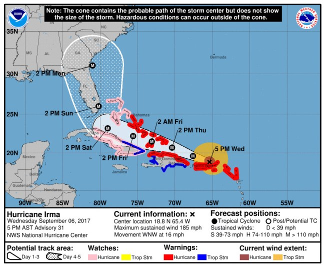 Hurricane Irma's track as forecast at 5 p.m Wednesday, Sept. 6. Click on the image for larger view.