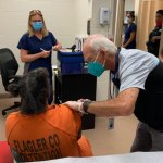 An inmate getting his second Moderna covid vaccine at the Flagler County jail today. (FCSO)