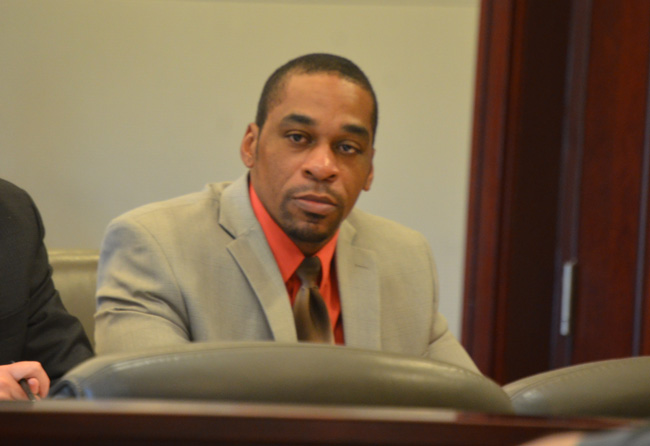 James A. Taylor in court this afternoon, as lawyers were picking the jury. (c FlaglerLive)