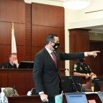 """""""This defendant did the unspeakable, ladies and gentlemen. He fled from the scene,"""" Assistant State Attorney tells the jury as he points to Joshua Carver, the Palatka man on trial in Bunnell over the hit-and-run death of John Rogers in 2020. Carver faces up to 30 years in prison if convicted. (© FlaglerLive)"""