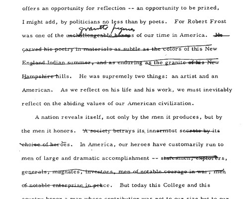 draft of JFK's speech on the arts at Amherst College, 1