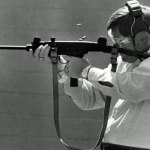 It's not a new story: then-Sen. John Grant, the Tampa Republican (and father of J.W. Grant, current GOP House member), photographed in 1989, firing an Uzi assault weapon at an FDLE range, when the Florida Legislature was considering outlawing assault weapons in the state. (Florida Memory)