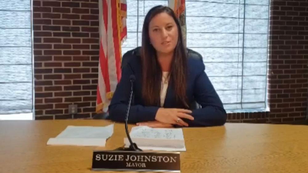 Flagler Beach Mayor Suzie Johnston in her two-minute video statement. (© FlaglerLive via Facebook)
