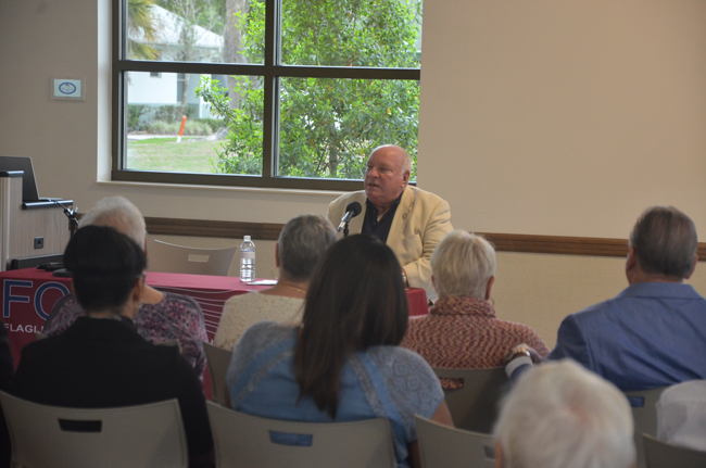 Jon Netts was back Wednesday evening, speaking at a forum for candidates for the Palm Coast City Council in this year's election. But he was the only one speaking. Heidi Shipley said she had a work conflict. And John Tipton, also a candidate, was not allowed to speak because he's not a registered Republican, and the forum was hosted by the Flagler County Republican Club. Netts served on the council from 2001 to 2016. He is challenging Shipley. He did not seem to have missed a step: he was never at a loss for words, for framing issues in optimistic outlooks and illustrating them with innumerable anecdotes he could draw on from his 16 years on the council. By the same token, Netts rested more for specifics on what he remembered of past policy and accomplishments than on what he was proposing that might be different in the future. He spoke much more generally when it came to proposals. Among the statements he made: 'We don't necessarily need more gas stations but we do need the alternative.' On growth: 'My vision is strategic growth. Growth for growth's sake makes no sense to me.' On Jobs: 'We don't need more low-income retail jobs, we need jobs that have good salaries based on the ability to do good work. We don't need smokestacks, we don't need refineries, what we need is the intellectual component of business.' (c FlaglerLive)