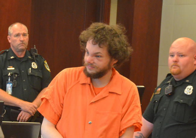 Joseph Bova arriving in court today. (c FlaglerLive)