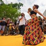 A Juneteenth celebration at Black Lives Matter Plaza in Washington, D.C., on Saturday. (Miki Jourdan)