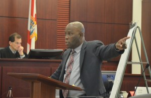 Junior Barrett, Dorothy Singer's attorney, during closing arguments. (c FlaglerLive)