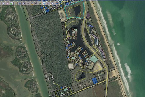 An overhead image from the Property Appraiser's mapping utilities shows the Lakeside By The Sea development, with the proposed developments at its northern and southern ends. Click on the image for larger view.